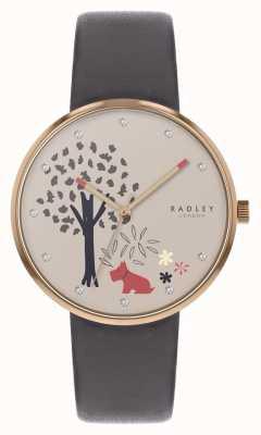 Radley | bracelet en cuir gris pour femme | cadran motif arbre et chien | RY2788