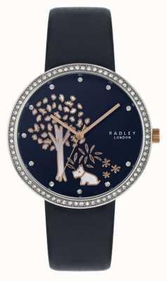 Radley | bracelet en cuir bleu marine pour femme | ensemble de cristal lunette | cadran d'arbre RY2783