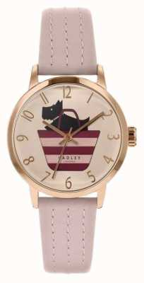 Radley | bracelet en cuir rose clair pour femme | cadran imprimé chien dans le sac RY2794