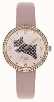 Radley | bracelet en cuir rose pour femme | découper le cadran de chien | ensemble de cristal RY2806