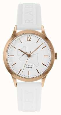 Radley   bracelet en silicone blanc pour femme   cadran blanc   boîtier en or rose RY2818