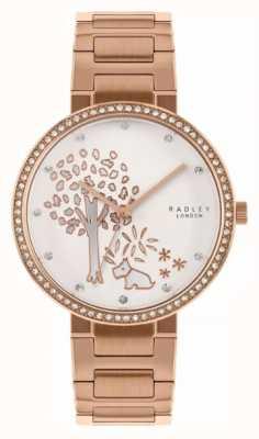 Radley | Bracelet femme acier et or rose | cadran motif arbre blanc | RY4388