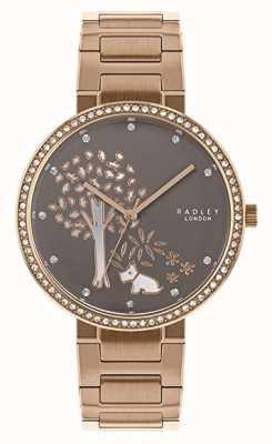 Radley   Bracelet femme acier et or rose   cadran blanc / gris arbre   RY4386
