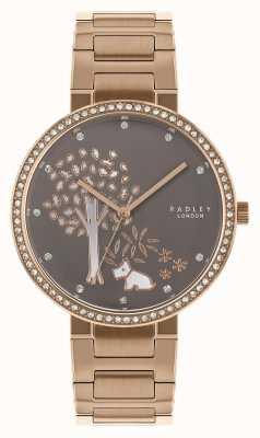 Radley | Bracelet femme acier et or rose | cadran blanc / gris arbre | RY4386