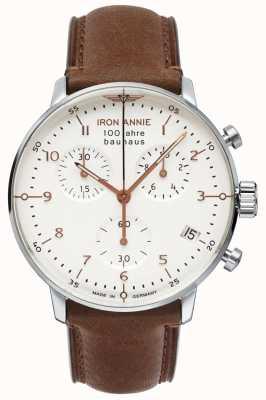 Junkers Annie de fer | Bauhaus | chrono | cadran blanc | cuir marron 5096-4