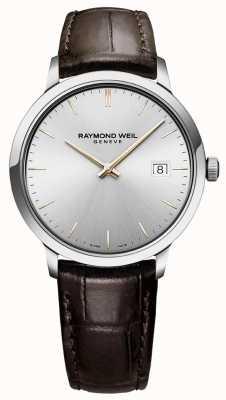 Raymond Weil | toccata pour hommes | bracelet en cuir marron | cadran argenté | 5485-SL5-65001