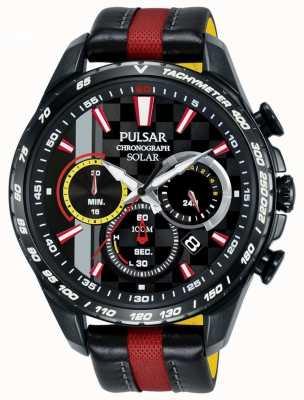 Pulsar   édition limitée mens   cuir rouge noir   cadran noir   PZ5081X1