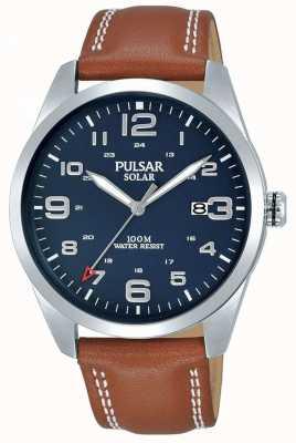 Pulsar | bracelet homme en cuir marron | cadran bleu | PX3189X1
