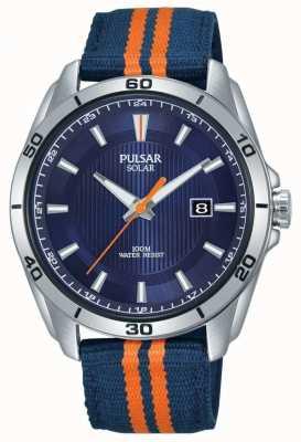 Pulsar | mens cadran bleu | bracelet en tissu bleu / orange | PX3175X1