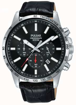 Pulsar   bracelet homme en cuir noir   cadran noir   PT3A01X1