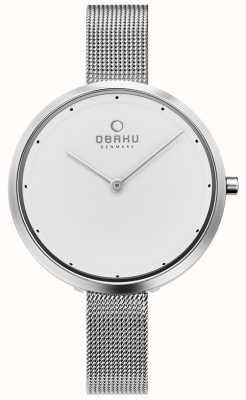 Obaku | acier dok femme | bracelet en maille d'argent | cadran blanc | V227LXCIMC