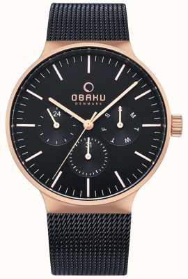 Obaku | mens mos nuit | bracelet en filet noir | cadran noir chronographe V229GMVBMB