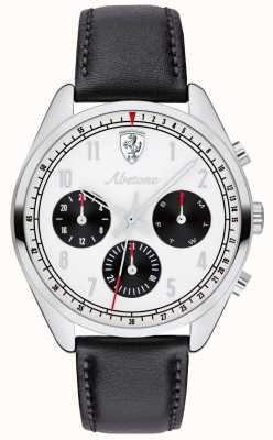 Scuderia Ferrari Montre à bracelet en cuir noir pour homme avec cadran blanc 0830569