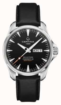 Certina | ds action day-date powermatic 80 | bracelet en cuir noir | C0324301605100