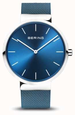 Bering Hommes | classique | bracelet maille en acier plaqué pvd bleu 16540-308