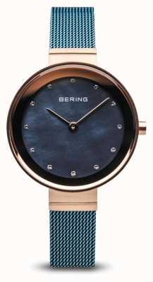 Bering Femmes | classique | maille d'acier plaquée par pvd bleue 10128-368