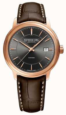 Raymond Weil | homme maestro | bracelet en cuir marron | cadran gris | 2237-PC5-60011