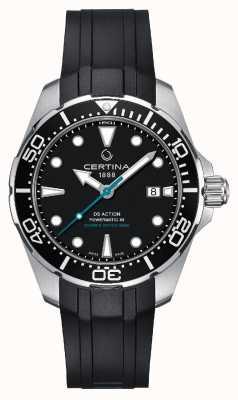 Certina | ds action diver powermatic 80 | bracelet en caoutchouc noir | C0324071705160