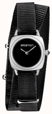 Briston | dame clubmaster | bracelet unique en nato noir | cadran noir | 19924.S.M.1.NB