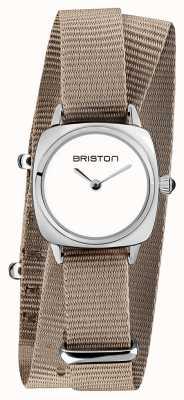 Briston | dame clubmaster | bracelet simple taupe nato | cadran blanc | 19924.S.M.2.NT