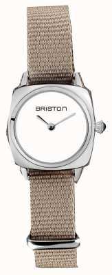 Briston | dame clubmaster | bracelet simple taupe nato | cadran blanc | 19924.S.M.2.NT - SINGLESTRAP