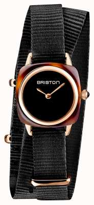 Briston | dame clubmaster | single noir nato | étui pvd or rose | 19924.SPRG.M.1.NB