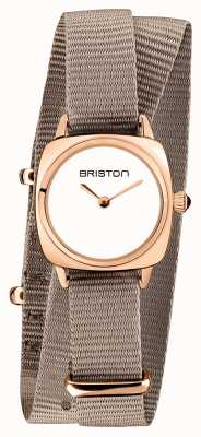 Briston | dame clubmaster | single taupe nato | étui pvd or rose | 19924.SPRG.M.2.NT