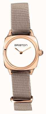 Briston | dame clubmaster | single taupe nato | étui pvd or rose | 19924.SPRG.M.2.NT - SINGLESTRAP