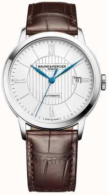 Baume & Mercier | classima pour hommes | automatique | cuir marron | cadran argenté | M0A10214