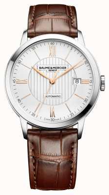 Baume & Mercier | hommes classima | automatique | cuir marron | cadran argenté | BM0A10263