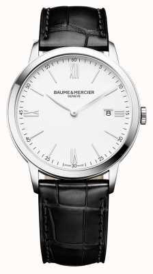 Baume & Mercier | classima pour hommes | bracelet en cuir noir | cadran blanc | M0A10323