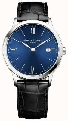 Baume & Mercier | mens classima | bracelet en cuir noir | cadran bleu | M0A10324