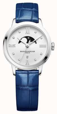 Baume & Mercier   femmes classima   cuir bleu   cadran de phase de lune d'argent   BM0A10329