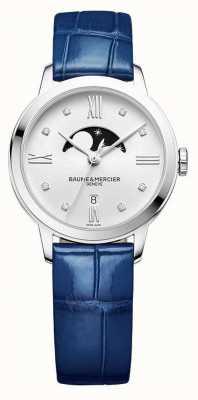 Baume & Mercier | femmes classima | cuir bleu | cadran argenté phase de lune | M0A10329