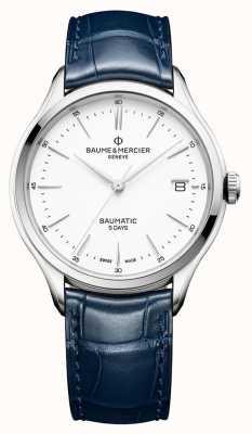 Baume & Mercier | mens clifton | baumatic | cuir bleu | cadran blanc | M0A10398