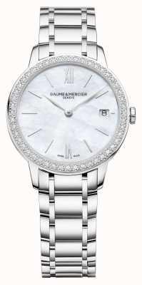 Baume & Mercier | classima femmes | lunette en diamant | bracelet en acier inoxydable M0A10478