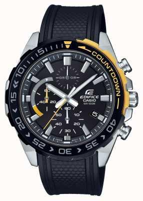 Casio | édifice classique | bracelet en caoutchouc noir | affichage de la date du jour | EFR-566PB-1AVUEF