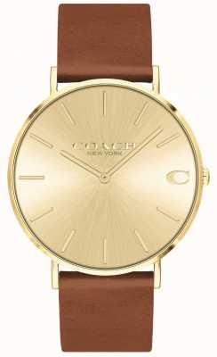Coach | hommes | charles | bracelet en cuir marron | cadran en or | 14602433