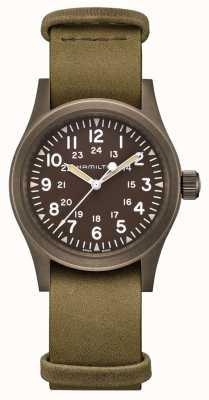 Hamilton | champ kaki mécanique | cadran brun | bracelet en cuir | H69449861