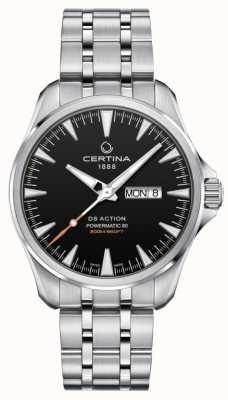 Certina | ds action powermatic 80 | acier inoxydable | cadran noir | C0324301105100
