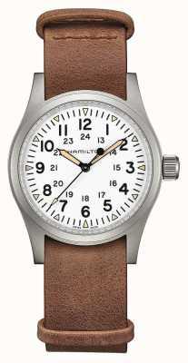 Hamilton | kaki domaine mécanique | cadran blanc | bracelet en cuir marron H69439511