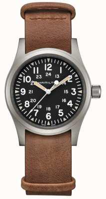 Hamilton | kaki domaine mécanique | cadran noir | bracelet en cuir marron H69439531