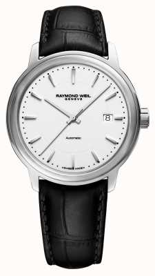 Raymond Weil | mens maestro | auto | bracelet en cuir noir | cadran blanc | 2237-STC-30011