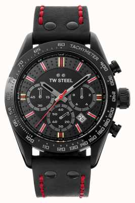 TW Steel Fils de temps moksha | chrono | cadran noir | Cuir noir TW987