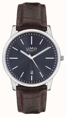 Limit | bracelet homme en cuir marron | cadran bleu | boîtier en argent | 5745.01