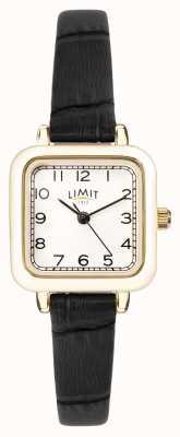 Limit | bracelet en cuir noir pour femme | cadran argenté | boîtier en or | 60059.01