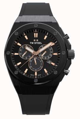 TW Steel Ceo tech | chrono | cadran noir | bracelet en caoutchouc noir CE4044