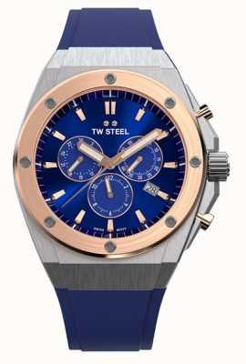 TW Steel Ceo tech | chrono | cadran bleu | bracelet en caoutchouc bleu CE4046