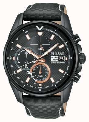 Pulsar   chronographe accélérateur   bracelet en cuir noir   cadran noir PZ6033X1