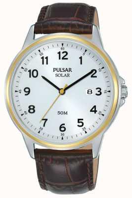 Pulsar | solaire | bracelet en cuir marron | cadran argenté | boîtier en or PX3198X1